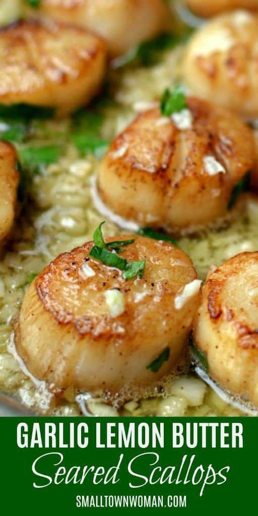Garlic Lemon Butter Seared Scallops  Seared Garlic Lemon Butter Scallops | Seafood | Scallops | Lem