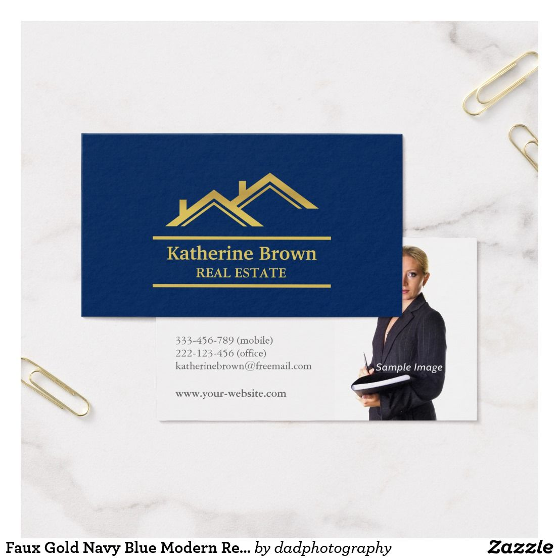 Faux Gold Navy Blue Modern Real Estate Realtor Business Card