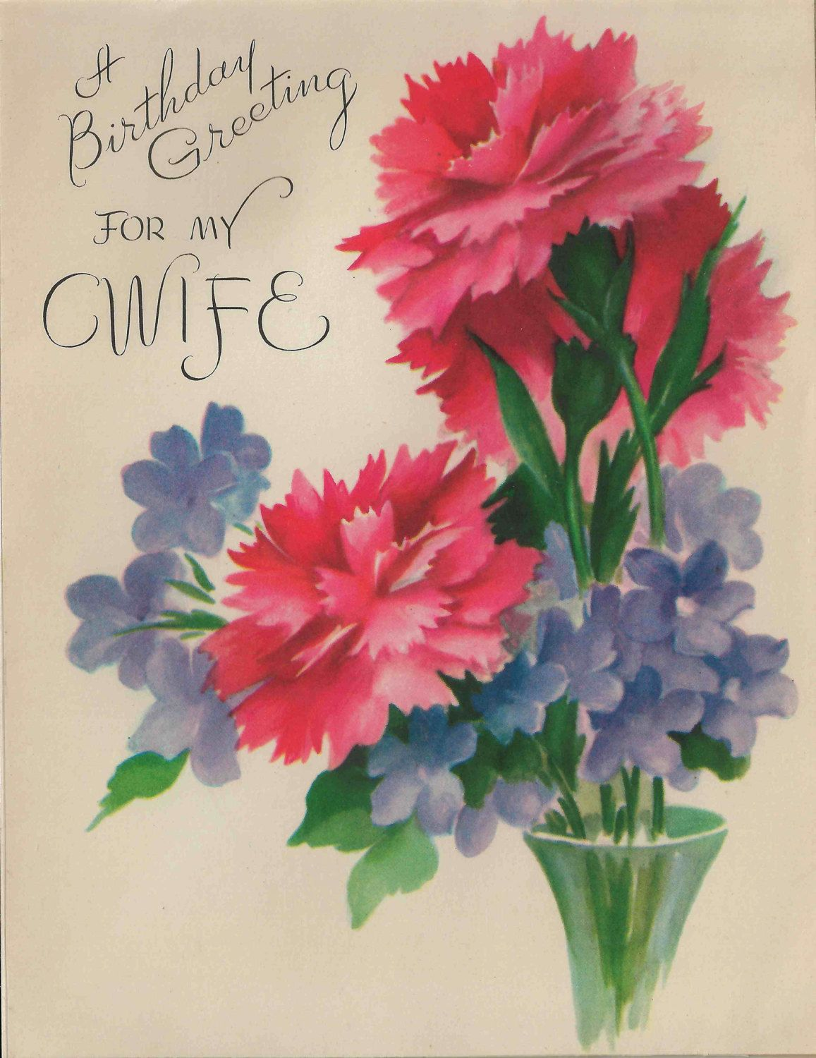 Beautiful Birthday Greeting For My Wife Card With Lovely Carnations