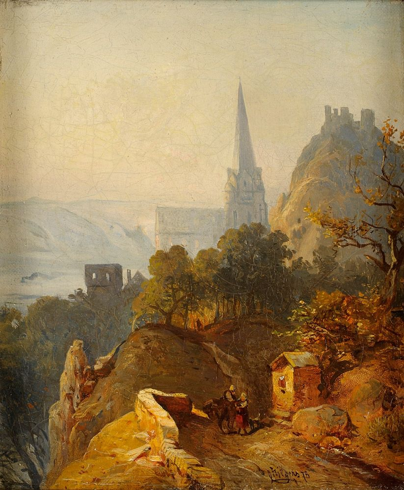 Carl Hilgers (1818-1890) - View of Oberwesel Overlooking the Church of Our Lady and Schoenburg, 1878