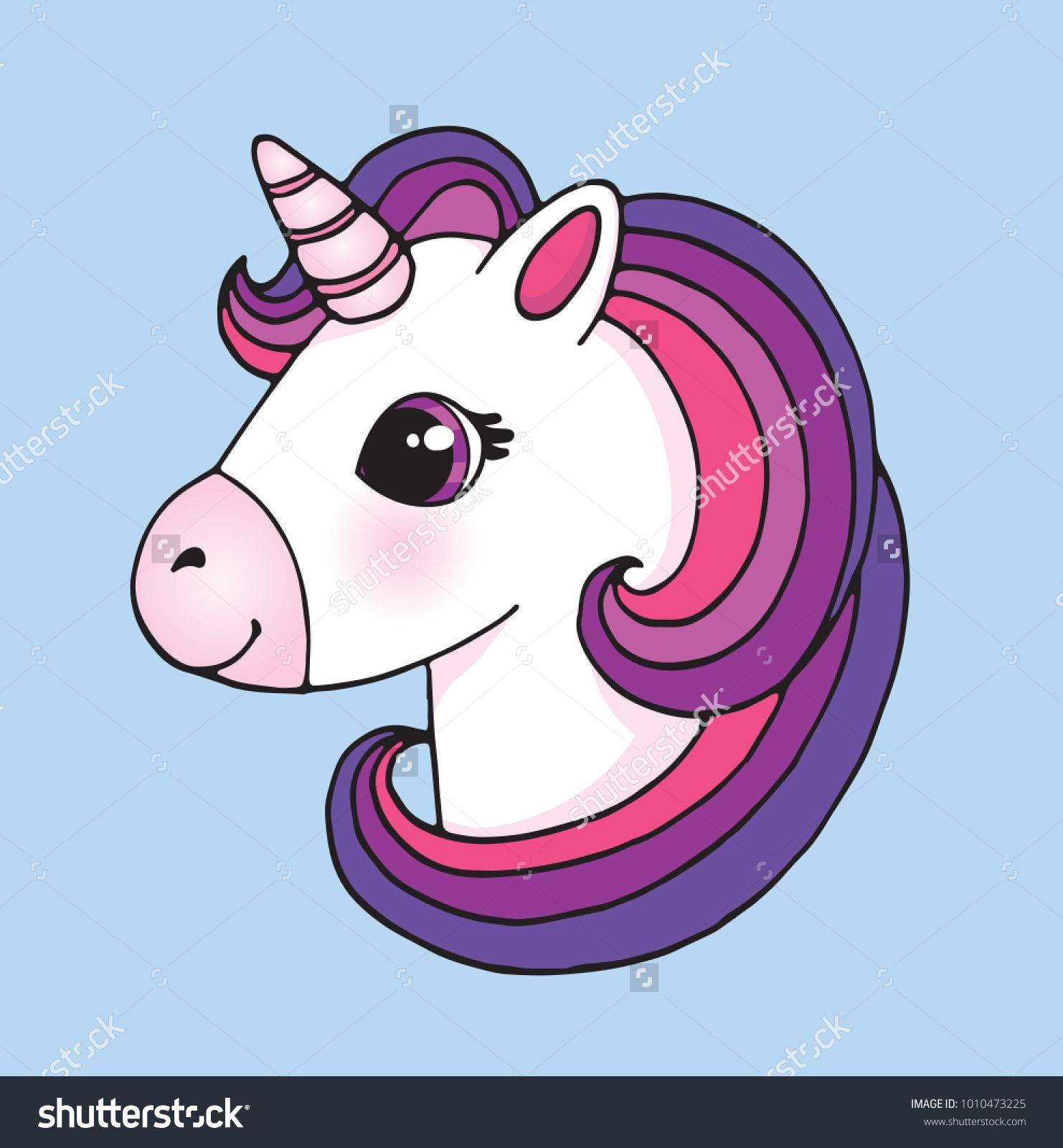 Cute cartoon unicorn head emoji vector illustration