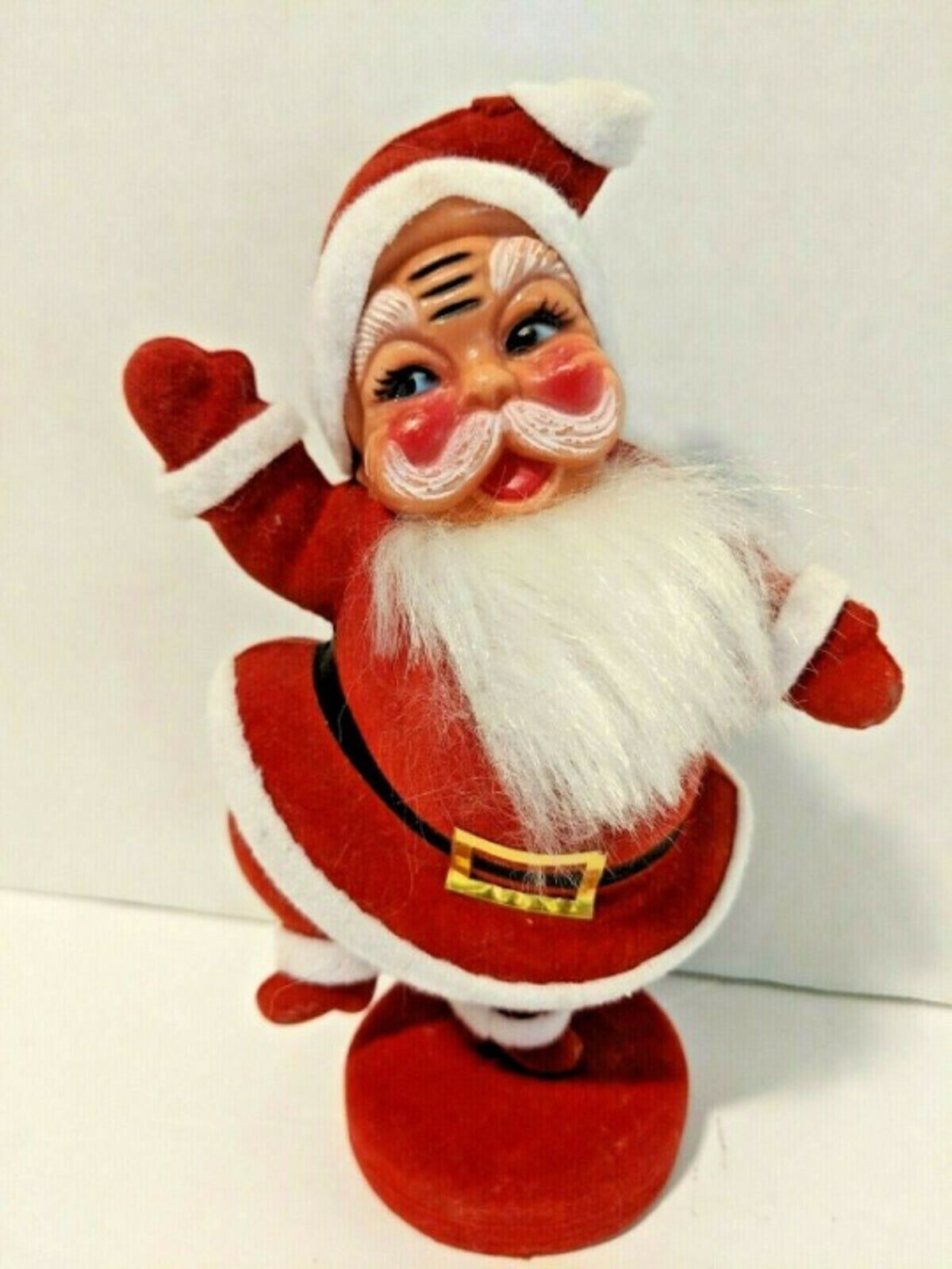 Vintage Santa Felt Flocked Figure Dancing santa, Vintage