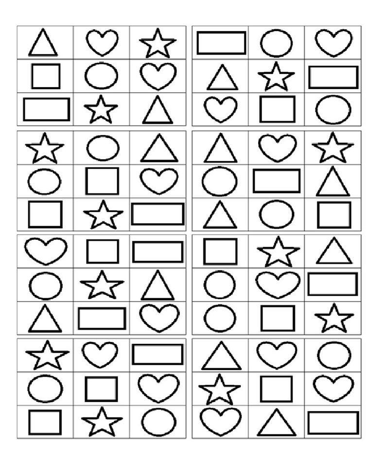Vormen bingo plaat | Thema Kleuren en Vormen | Pinterest