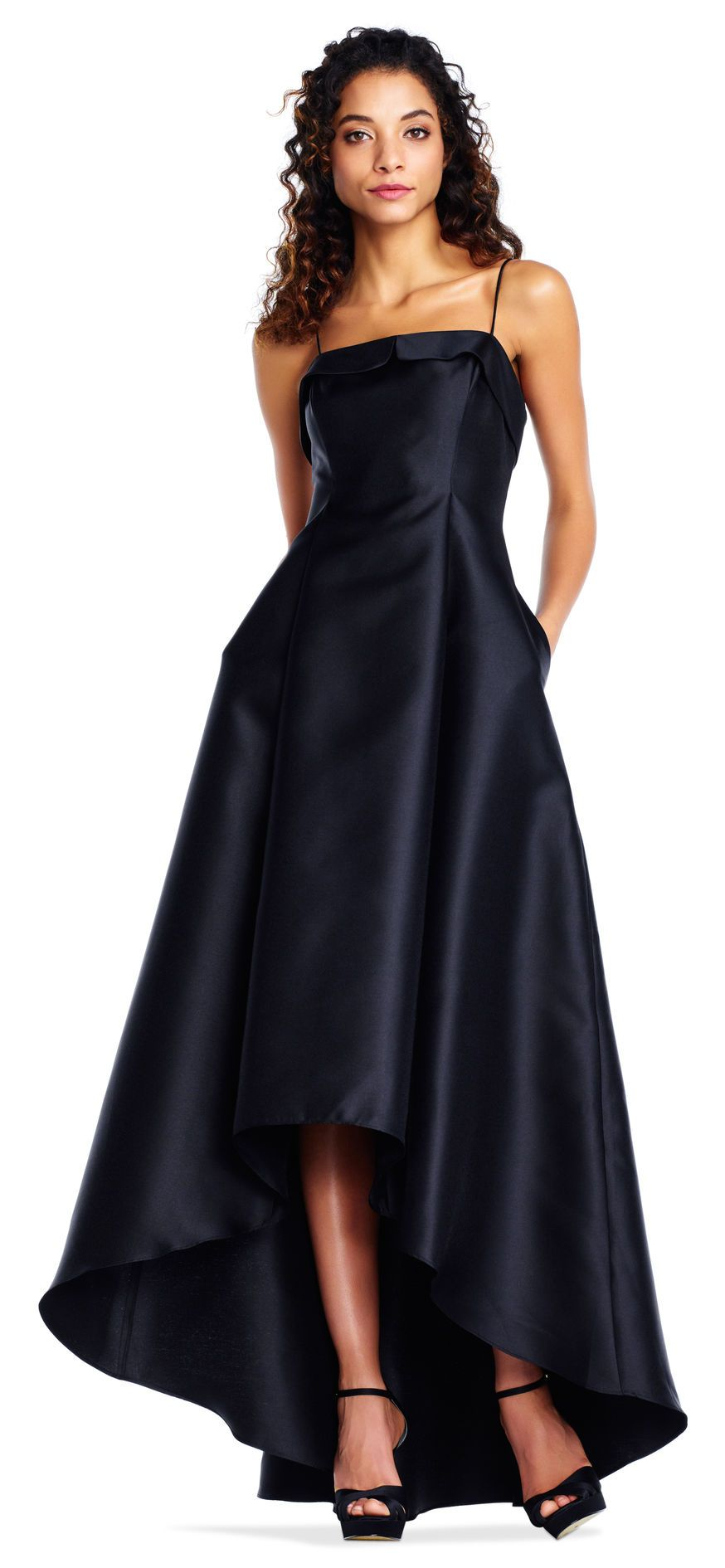 Adrianna Papell Mikado High Low Ball Gown With Spaghetti Straps
