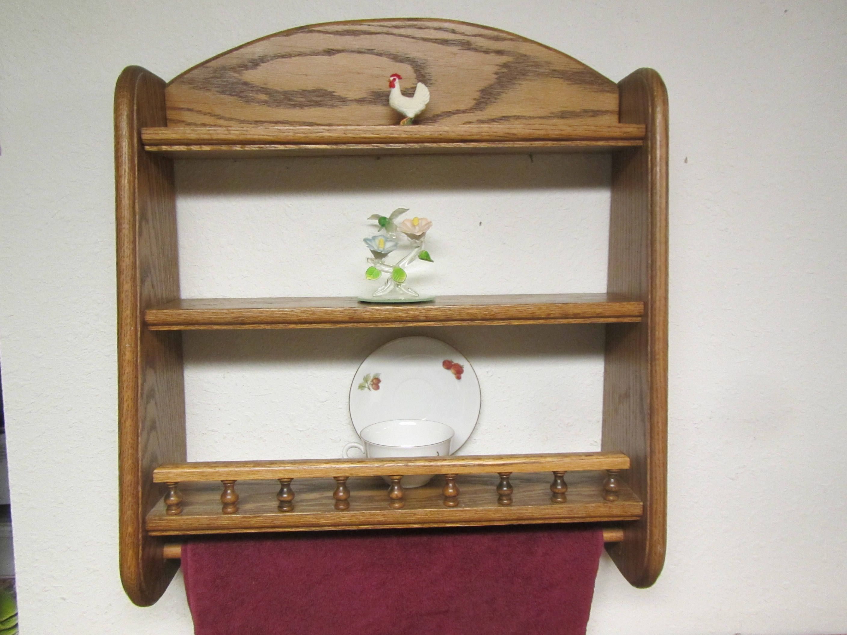 Wood 2 tier Shelf with Towel Rod and Plate rail, Oak shelf with ...