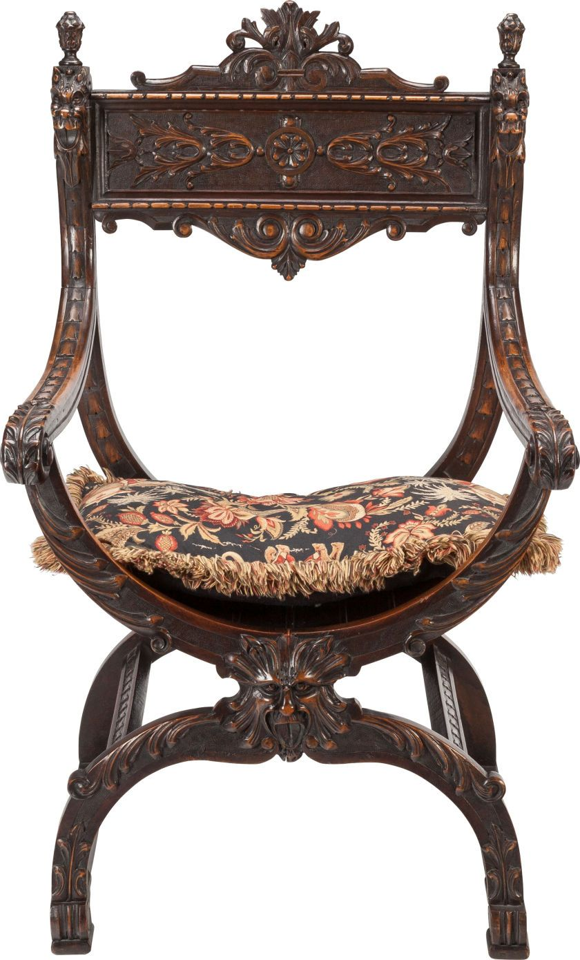 A Renaissance Revival Walnut Armchair Late 19th Century