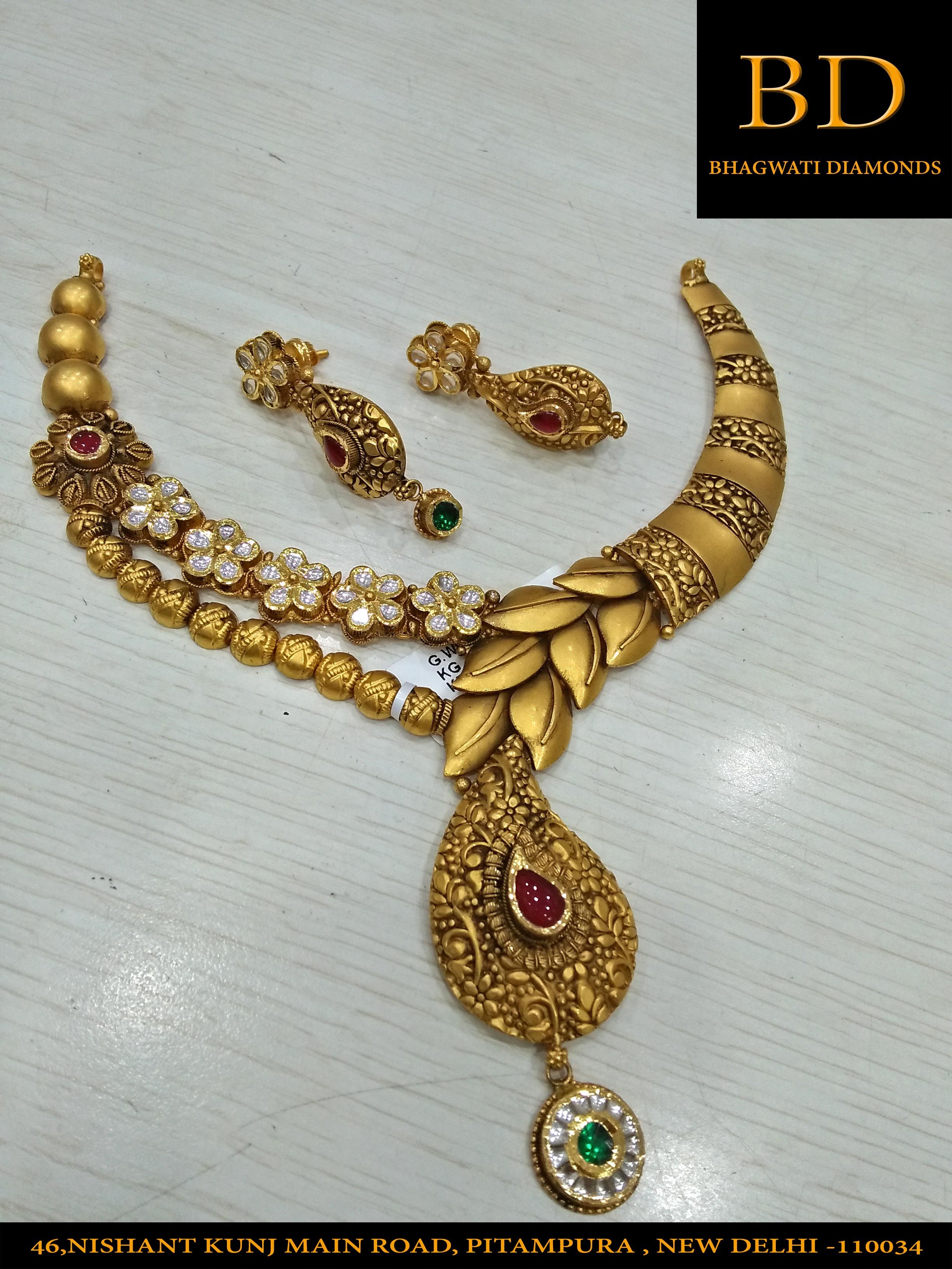 Gold Necklace By Bhagwati Diamonds Kohat Enclave Contact 011 43464018 Gold Necklace Indian Bridal Jewelry Gold Fashion Necklace Antique Gold Jewelry Indian