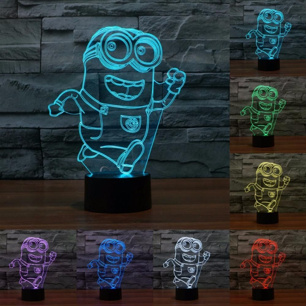 Despicable Me Minions 3d Illusion Led Lamp 3d Illusions Touch Lamp 3d Light
