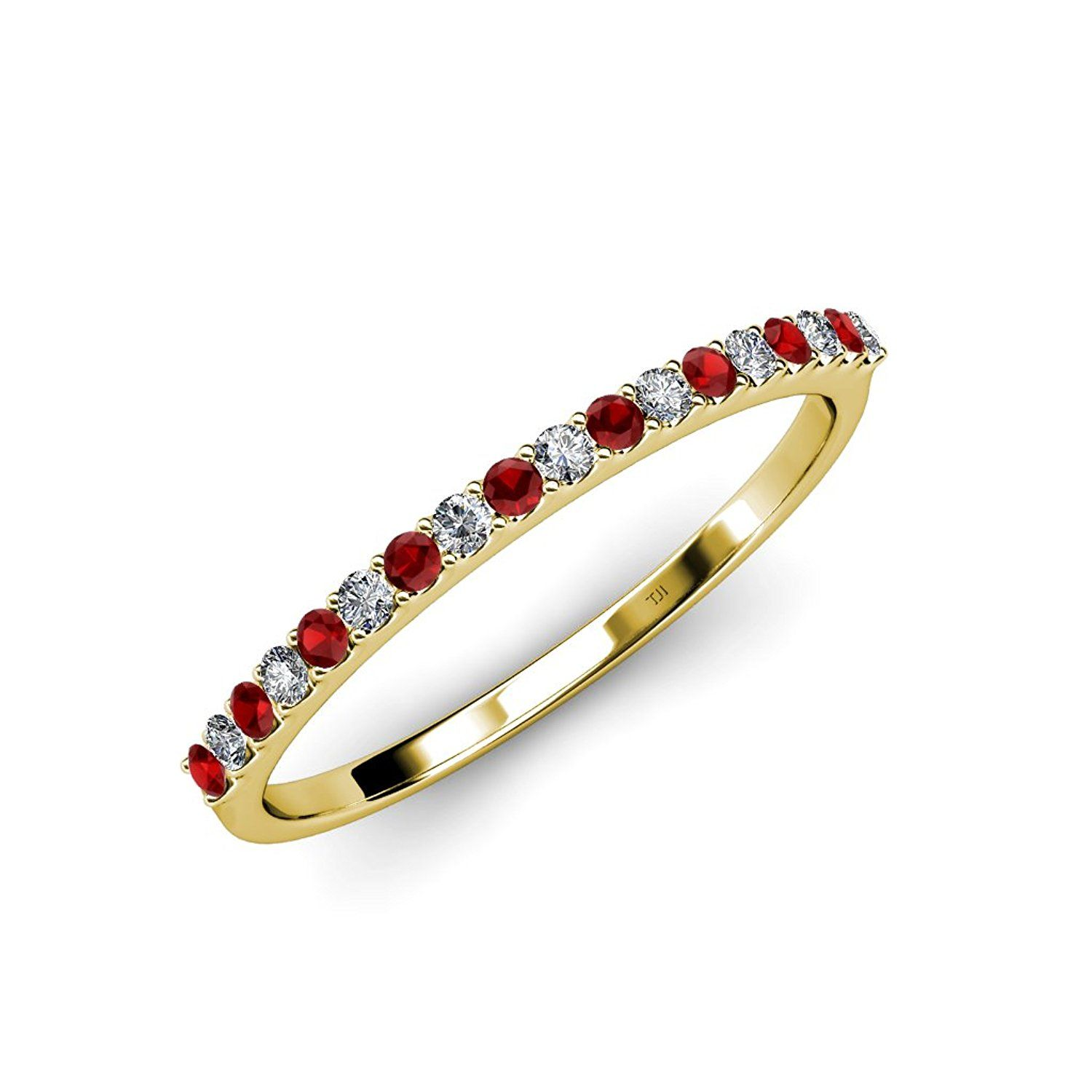 Red Garnet and Diamond (SI2-I1, G-H) 18 Stone Wedding Band 0.25 ct tw in 14K Gold >>> Startling review available here  : Wedding Rings