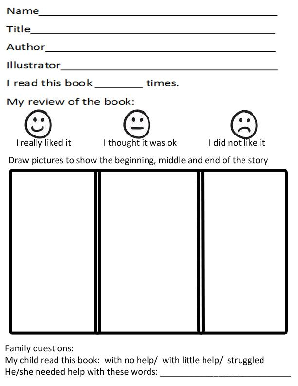 Kindergarten Book Report Template  Classroom Ideas