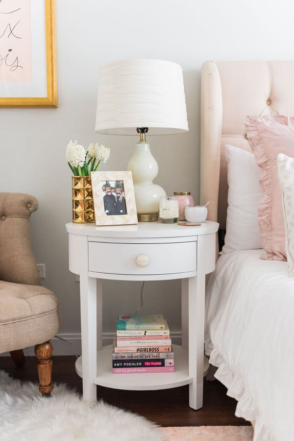Pink Bedside Table: My Chicago Bedroom // Parisian Chic, Blush Pink