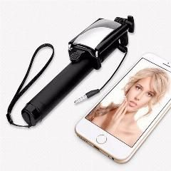 [ 21% OFF ] Mini Foldable Wired Selfie Stick Cable With Mirror Extendable Built-In Shutter Stick For Android And Ios Smartphone