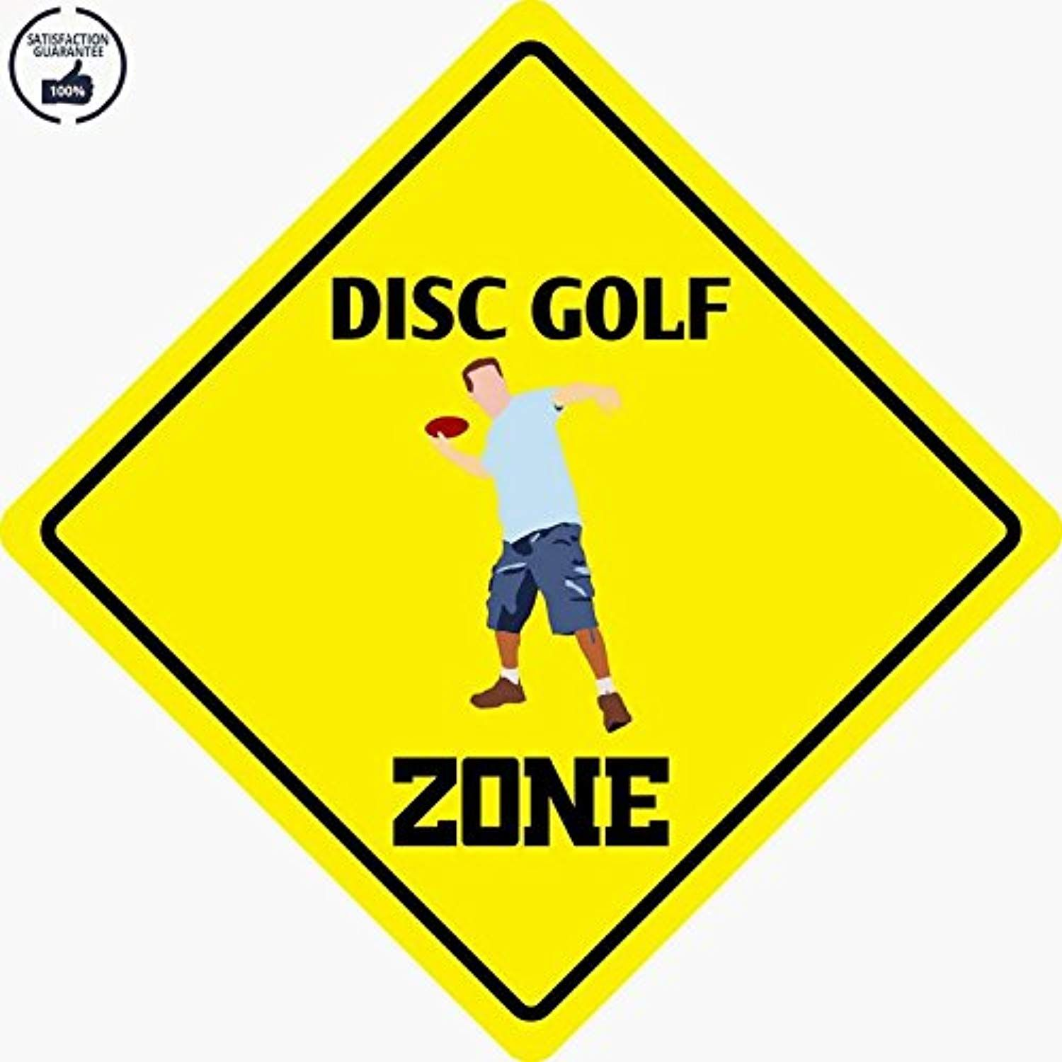 Disc golf zone funny aluminum metal plate gift sign