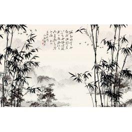 Papier peint chinois-Paysage avec les bambous en noir et blanc ...