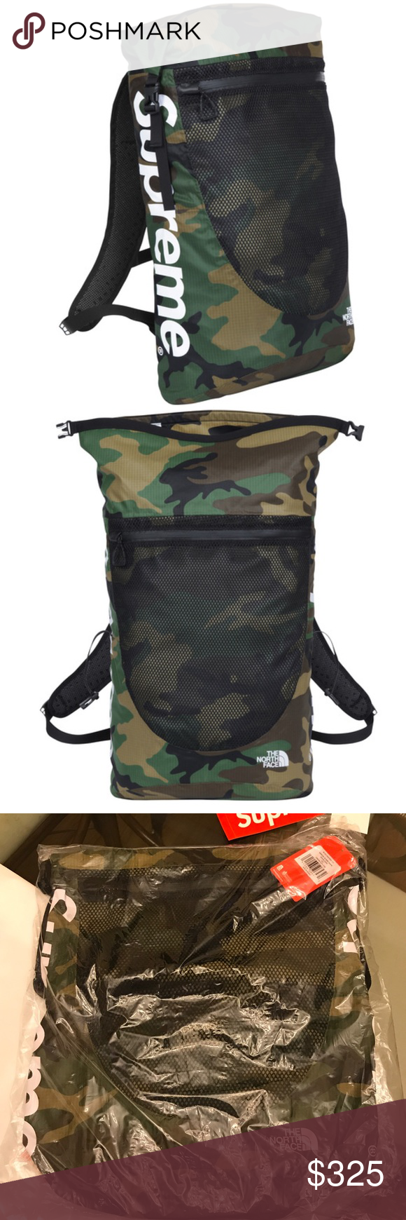7f57be8476 NWT Supreme SS17 North Face Woodland Camo Backpack Supreme The North Face  Waterproof Backpack 210D double ripstop nylon with double side PU coating.