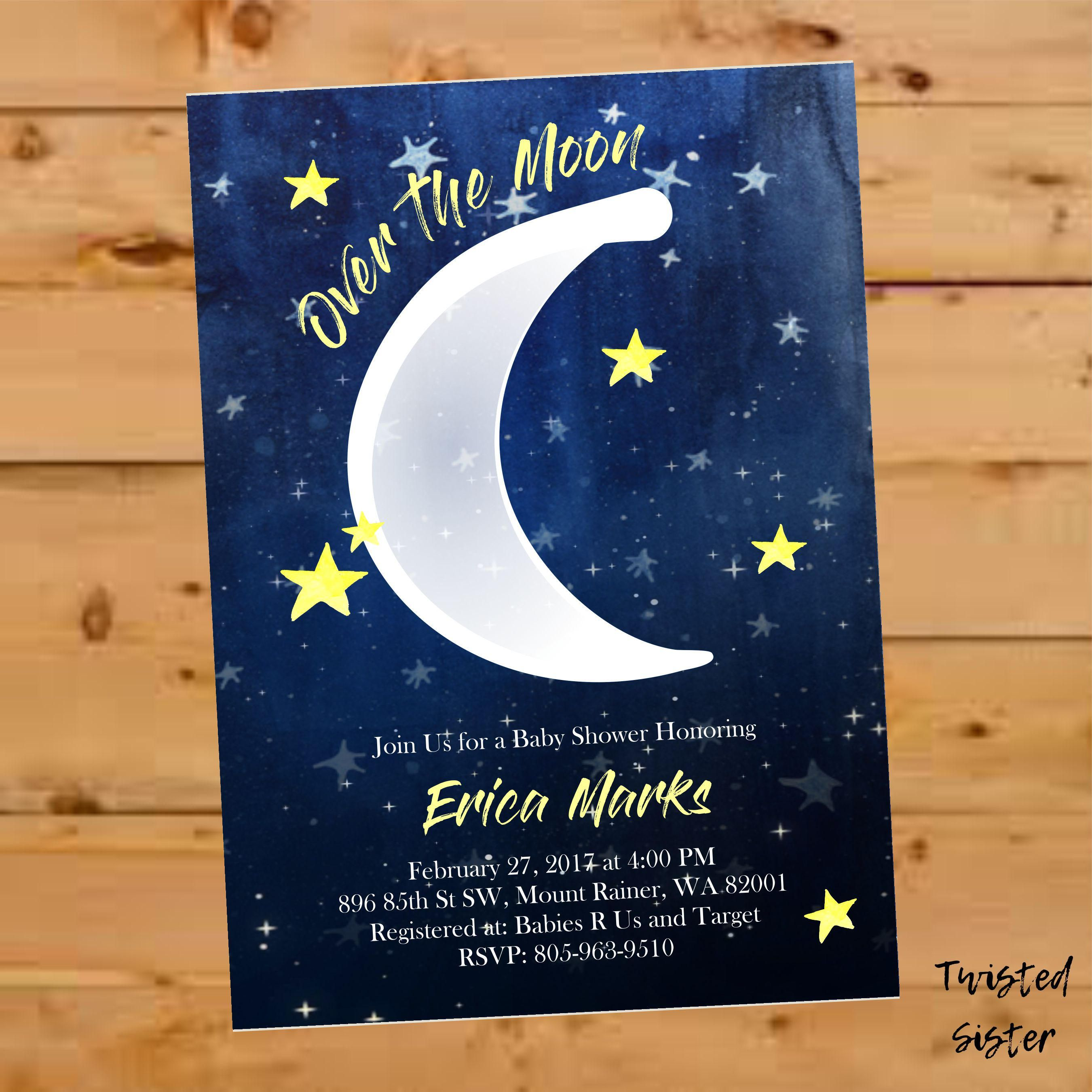 baby shower invitation for twins%0A Over the Moon Baby Shower Invite  Moon and Stars Baby Shower Invitation   Gender Neutral