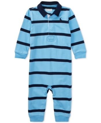 8ae5edab1dc7 Ralph Lauren Baby Boys Striped Rugby Cotton Coverall - French Navy ...