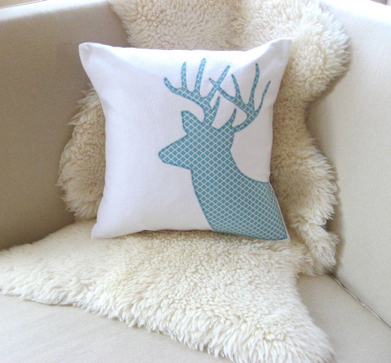 Deer Pillow Cover Buck Antler Appliqué Modern Geometric White