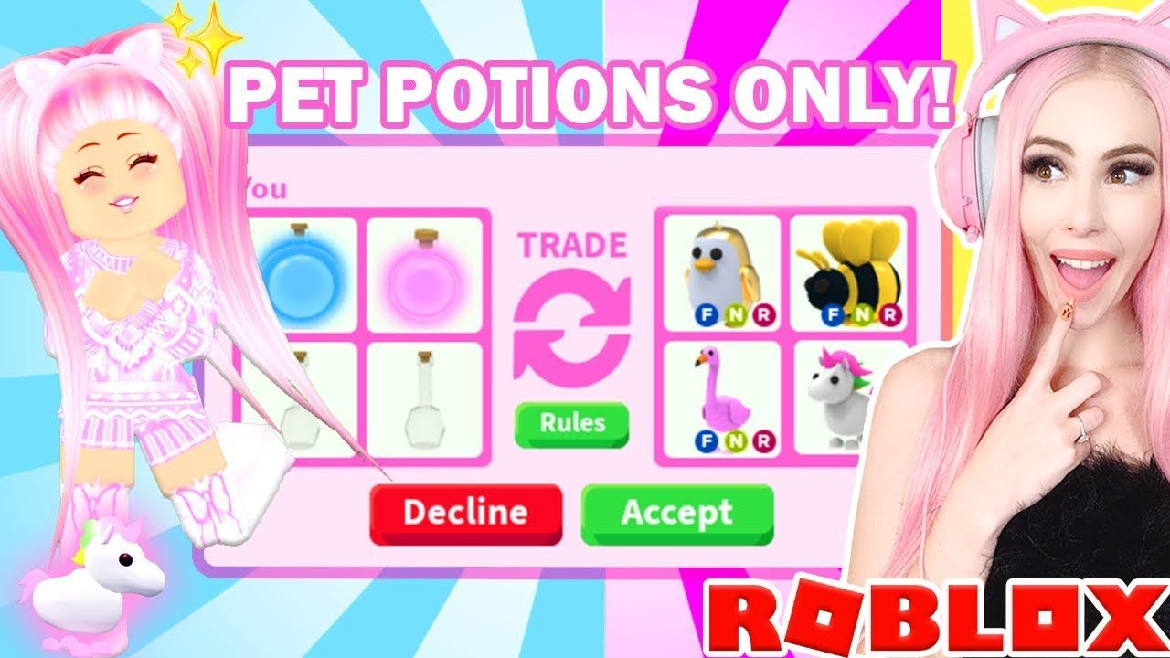 I Only Traded Pet Potions For 24 Hours In Adopt Me Roblox Adopt Me Trading Youtube Roblox Adoption Roblox Pictures