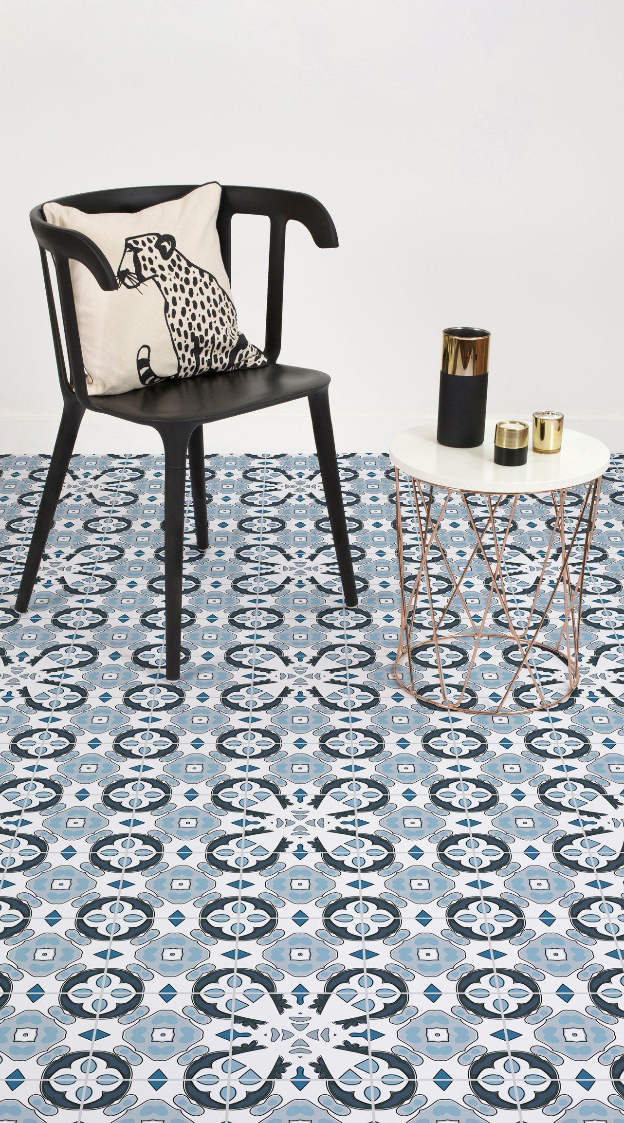 Lagos Vinyl Flooring Powder Blue Color Tile Effect Vinyl Flooring