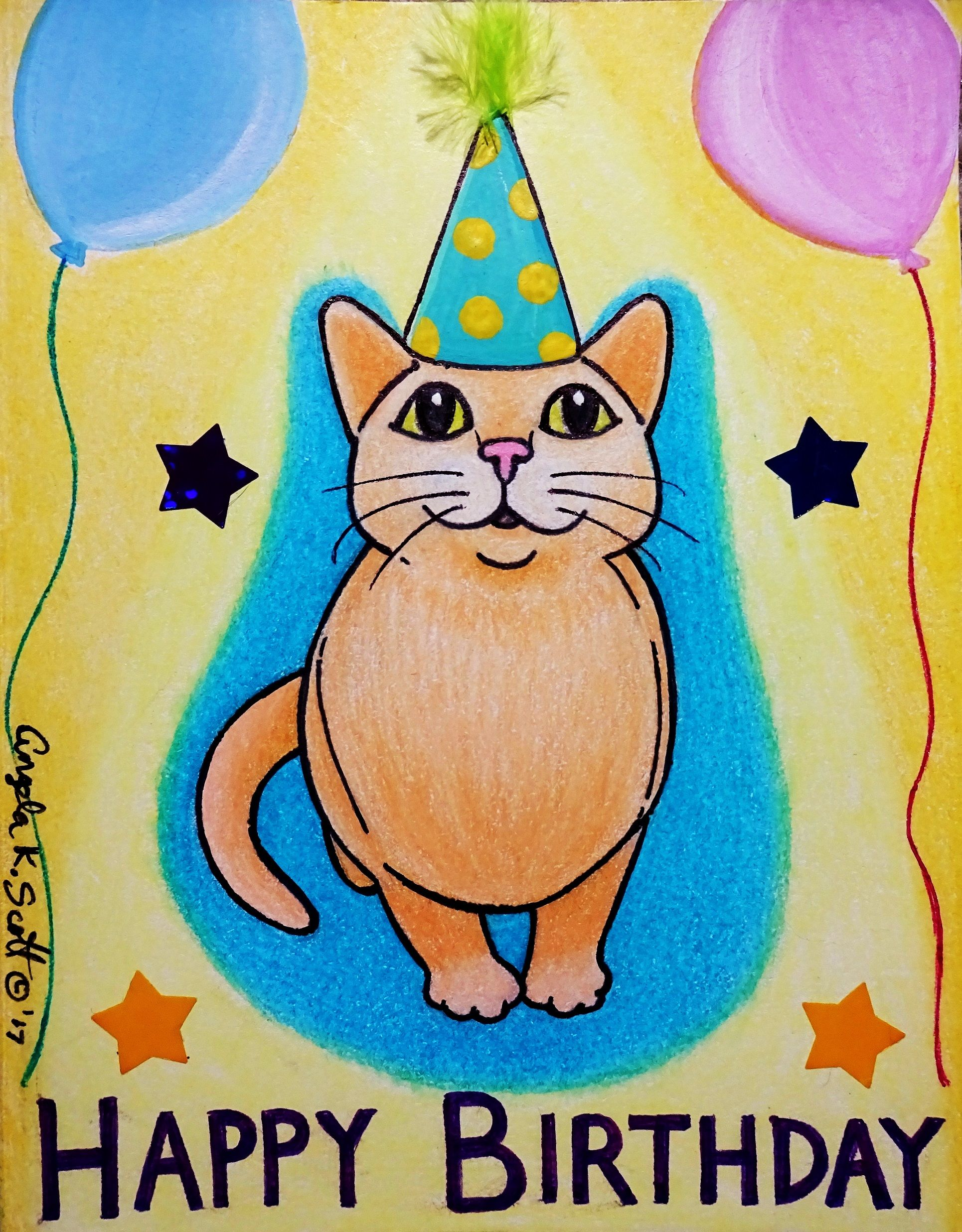 """Happy Birthday"" CAT. My artwork of a bday hat wearing cat"