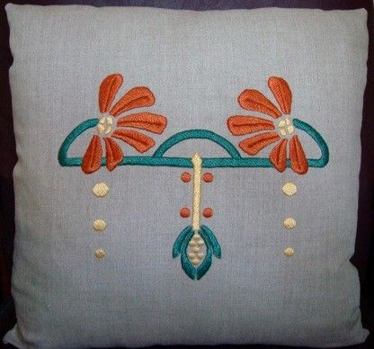 Hand Embroidered Pillow Arts and Crafts Craftsman Style