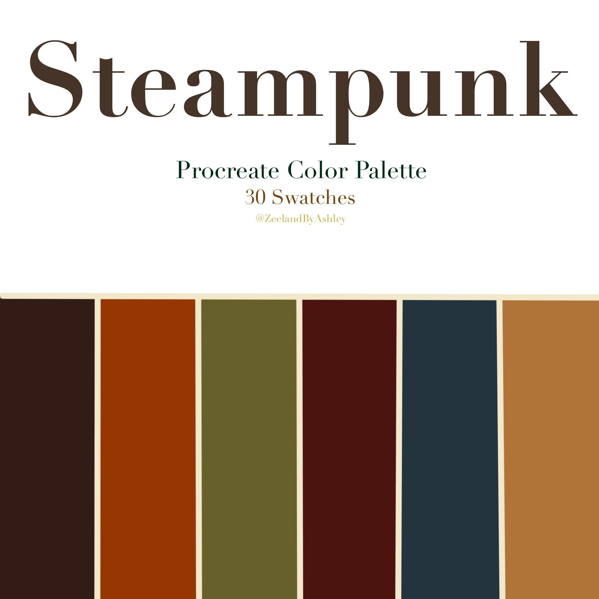 Steampunk Inspired Procreate Color Palette 30 Swatches Instant Download In 2021 Color Palette Color Schemes Colour Palettes Green Color Schemes