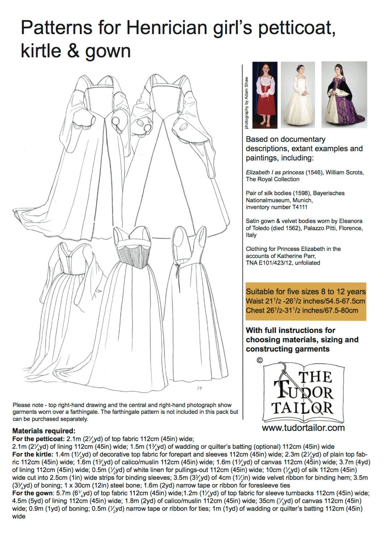 Shop | The Tudor Tailor | Pattern for Henrician Girl's
