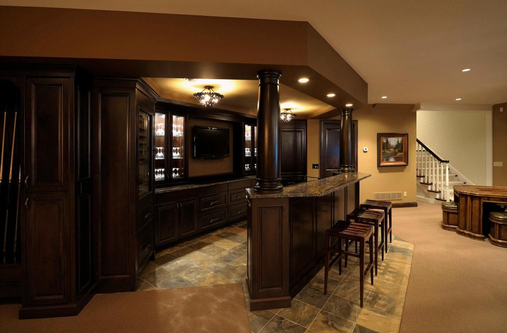 35 best home bar design ideas dark wood cabinets dark - Home basement bar ideas ...