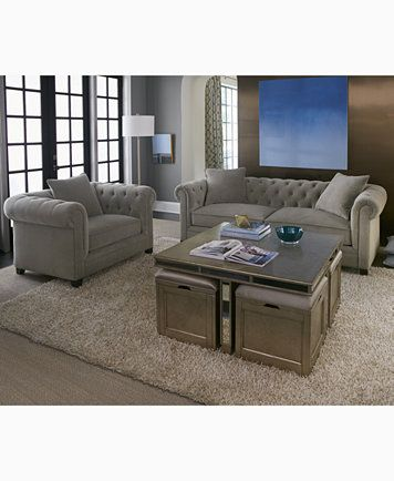 Ailey Cube Coffee Table With 4 Storage Ottomans Only At Macy S Macys