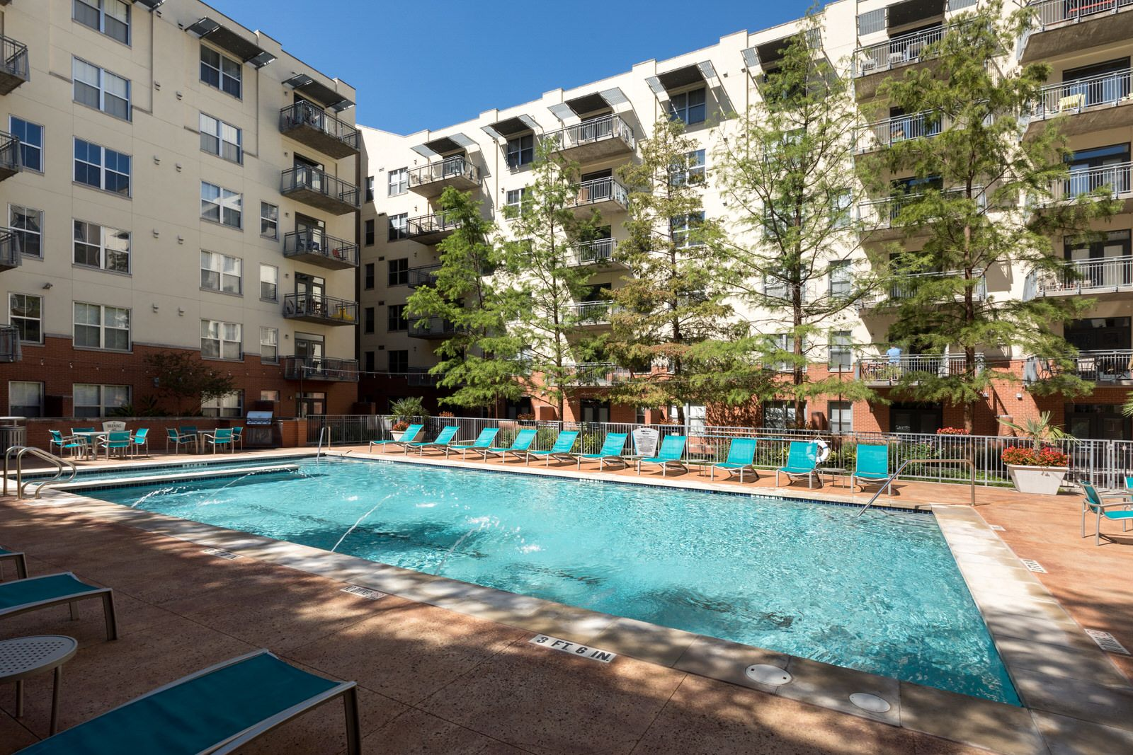 Sun or shade at the pool? You decide. Downtown austin