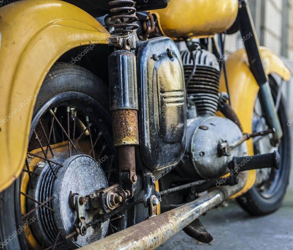 Yellow Vintage Motorcycle Wheel Old Rusty Motor Bike Iron Exhaust Stock Sponsored Wheel Rusty Motorc In 2020 Vintage Motorcycle Motorcycle Wheels Motorcycle