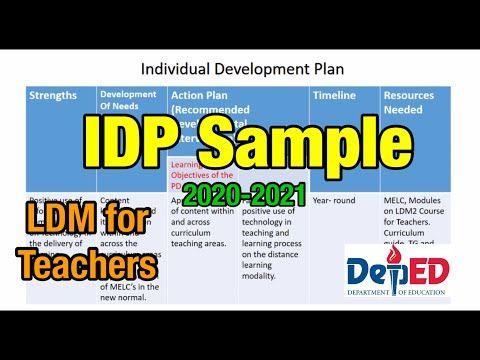 IDP - Individual Development Plan Sample for Teachers -2020-2021 - YouTube