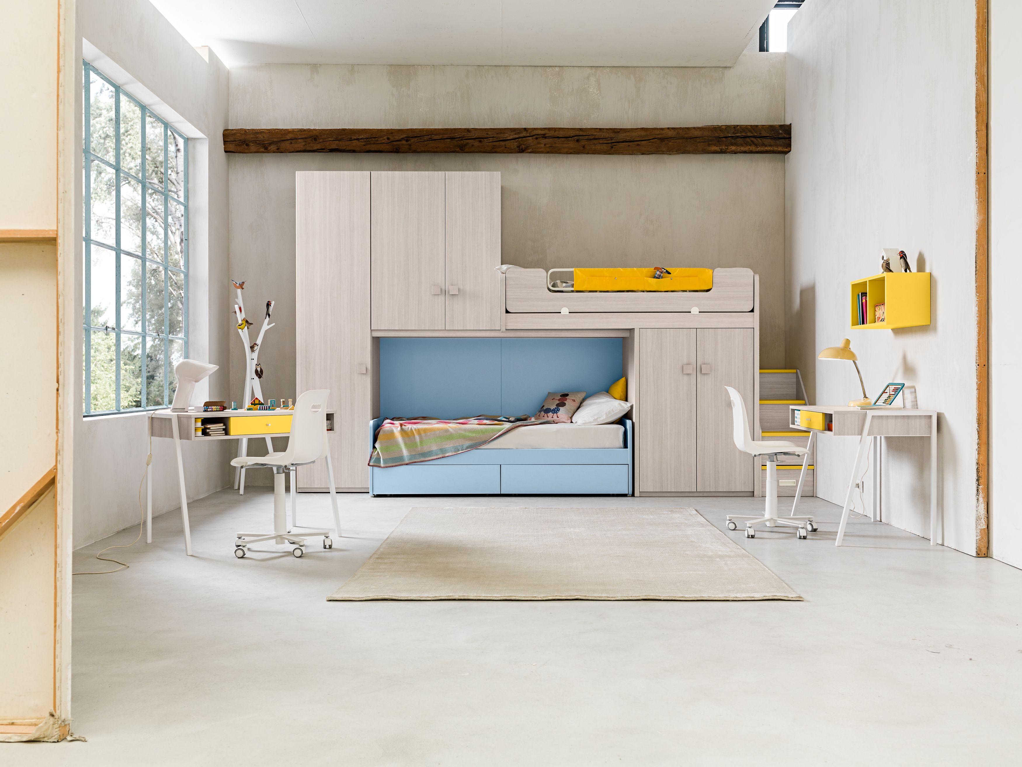 Cameretta moderna design componibile su misura per bambini e ragazzi a castello con letti a - Mobili per bambini design ...