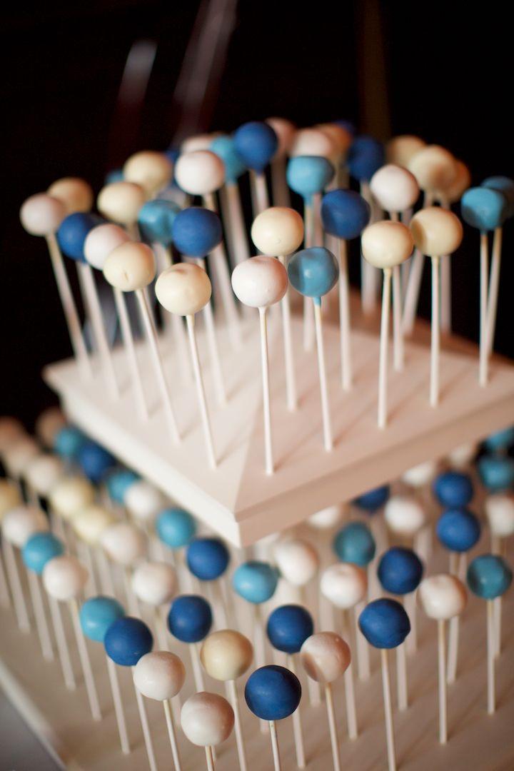 Nautical wedding dessert idea blue white cake pops