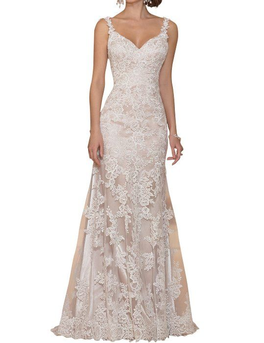 Topquality2016 Women's Elegant Mermaid Lace Wedding Dress for Bride Size 6 White