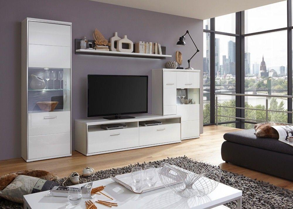 Wohnwand Trento Weiß Hochglanz mit Grau 20707 Buy now at
