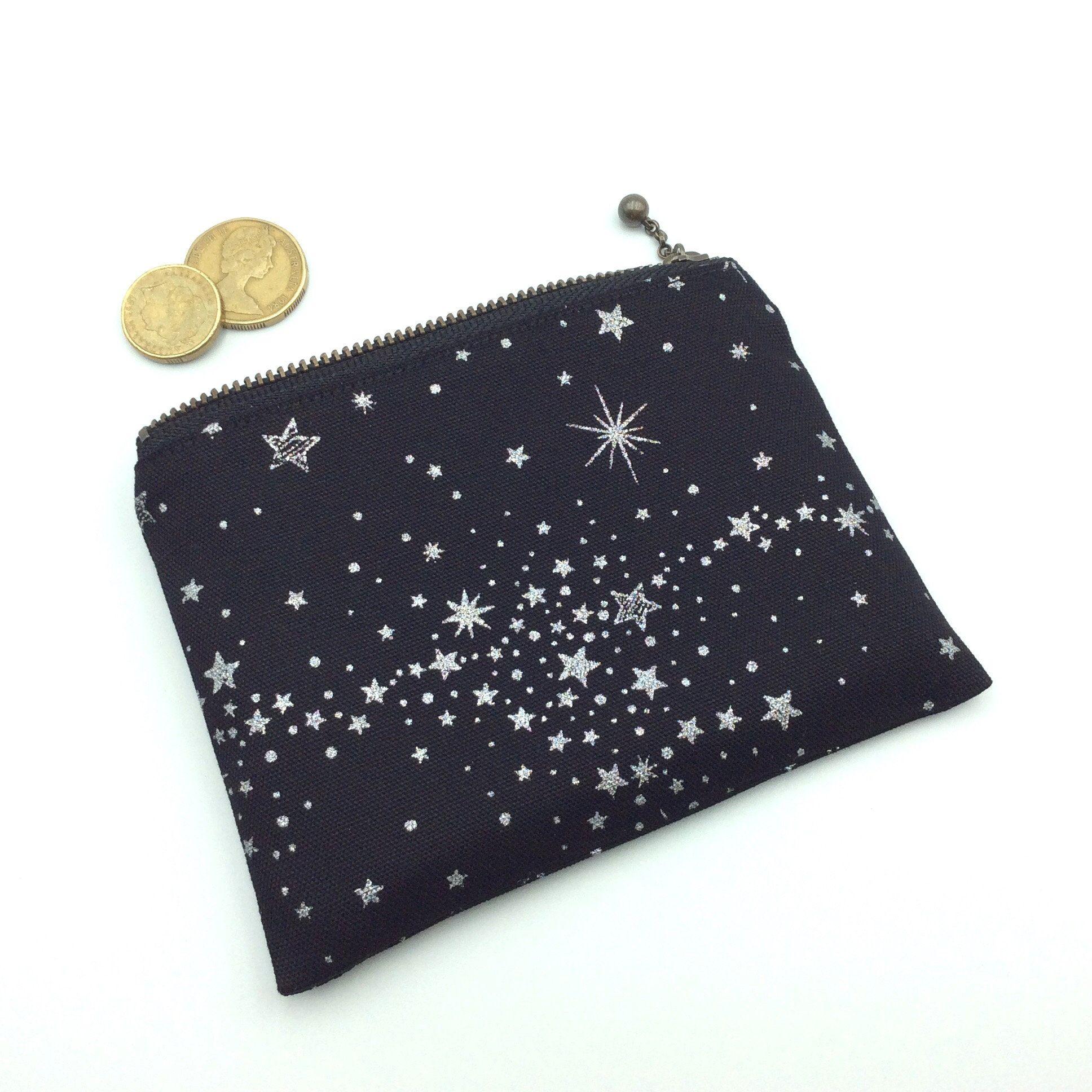 Handmade fabric zipped purse wallet Stars. coin purse coin bag