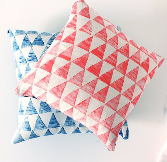 Triangle pillow / cushion cover Coral Linen by pombypomegranate, $49.00