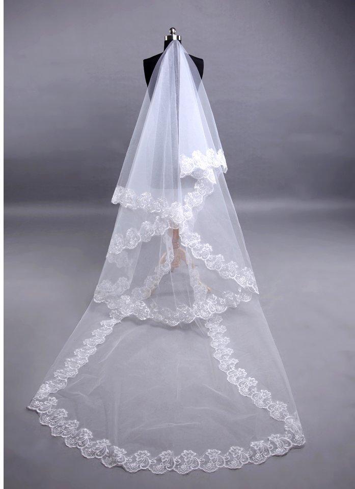 22.00$  Watch now - http://visxm.justgood.pw/vig/item.php?t=jsmfj237388 - HV11 1 Tier Lace Wedding Veil bridal Lace Veil Long Veil veil cathedral veil