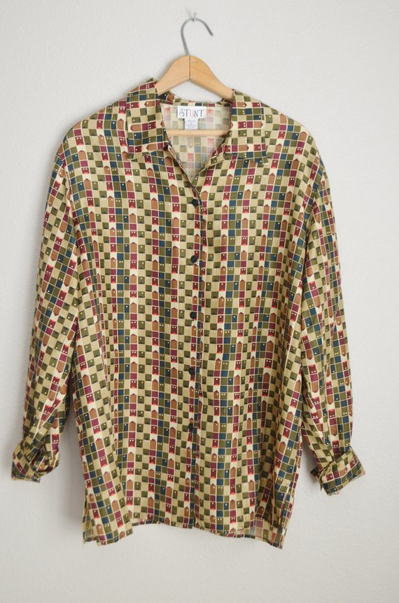 e8b09801 vintage geometric abstract green burgundy patterned 90s SILK oversized  blouse -- large 1X