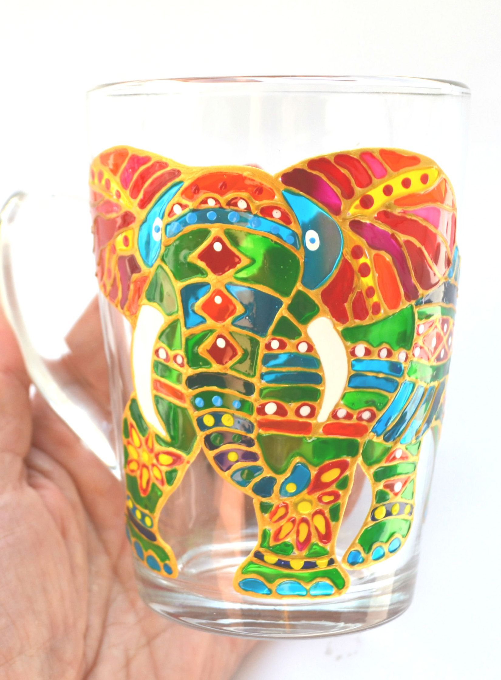 Indian elephant coffee mug Painting glassware, Indian