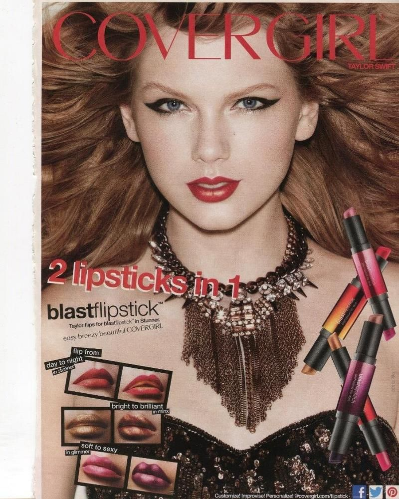 Taylor swift print ad for cover girl lipstick sexy singer taylor