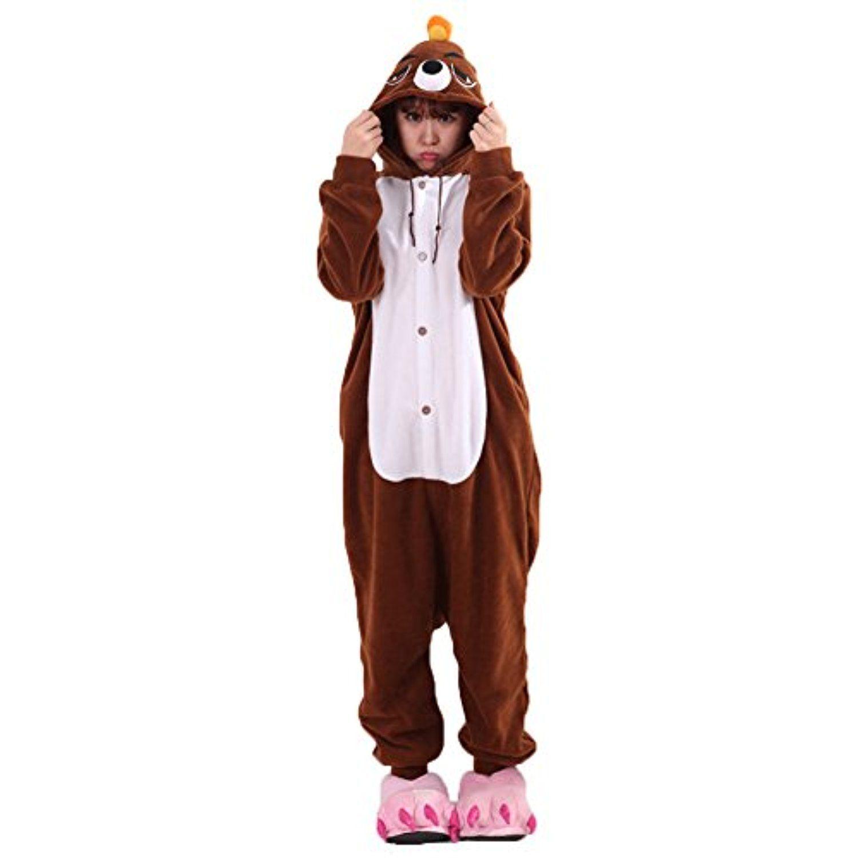 Weiai Adult Winter Onesie Kigurumi Halloween Party Animal Cosplay Costume  Brown Mole XL    Awesome