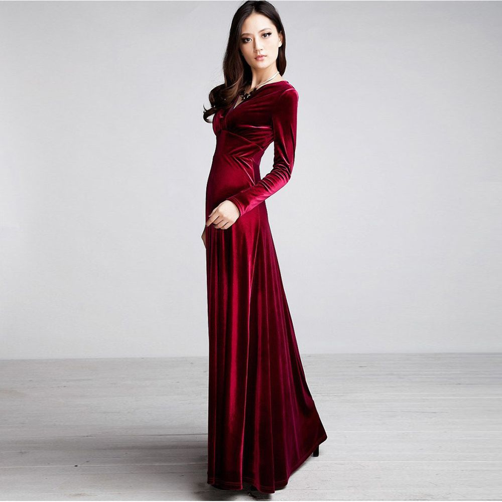 Sexy-Elegant-Lady-Velvet-Warm-Maxi-Dress-Women-Long-Sleeve-Deep-V-Evening- Dress 9f09ef300767