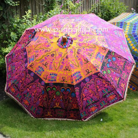 GARDEN INDIAN PARASOLS UMBRELLA   Apparently Made For Use Over A Patio  Table.