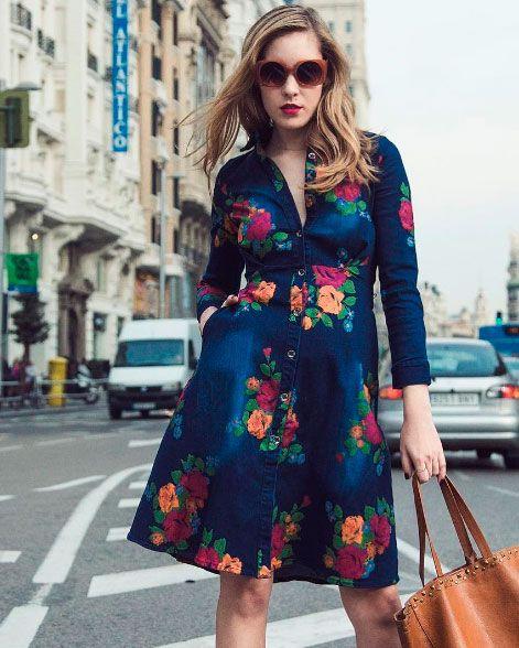 70ff7827ac Comprar vestido vaquero flores Philippa and Co - Vestido manga larga cuello  abierto estampado con flores