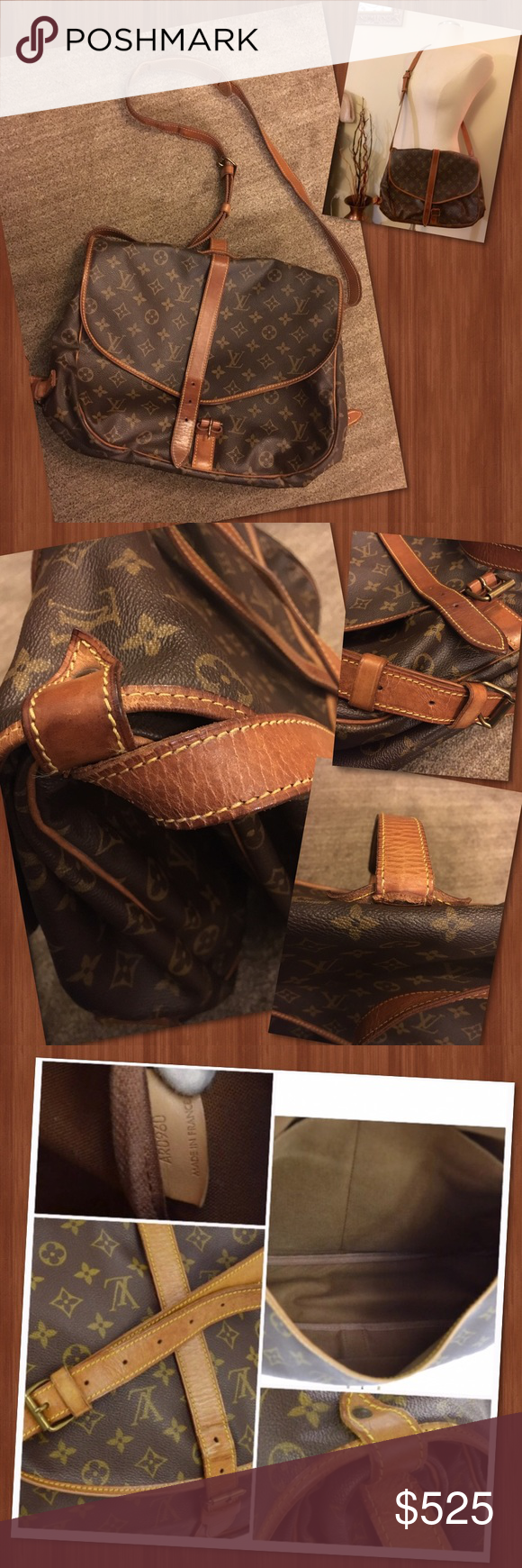 Authentic Louis Vuitton Saumer Crossbody In great condition. After having it cleaned and conditioned decided it's just to big for me.  Very spacious. Clean inside and out. Leather straps and trim aging. Much better since conditioning.(see pics) strap measurements- 15.7-20.9 adjustable. Date Code- AR0960 Louis Vuitton Bags Crossbody Bags