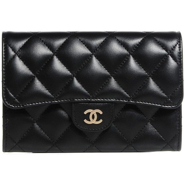 1a40e6b4e7a CHANEL Lambskin Quilted Small Flap Wallet Black ❤ liked on Polyvore  featuring bags