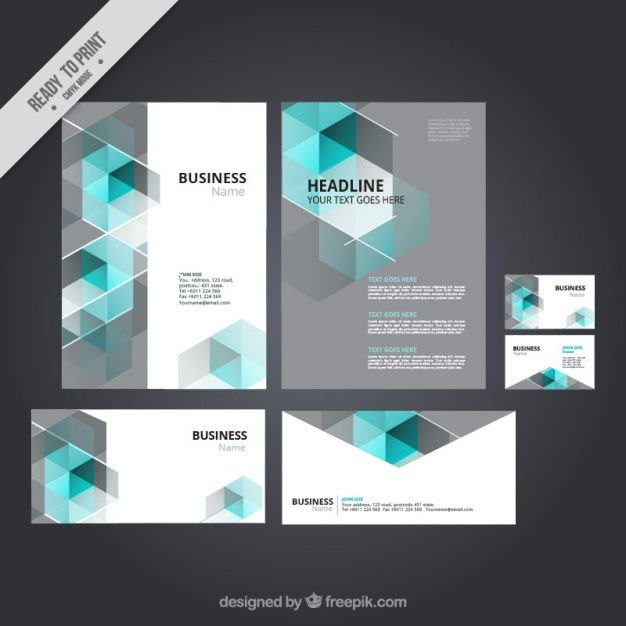 Business stationery with blue polygonal shapes Free Vector